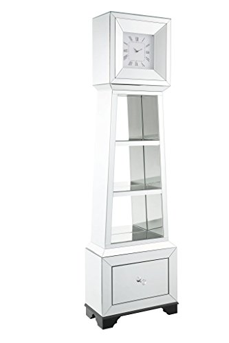 "Major-Q 9097048 63"" H Modern Glam Style1 Drawer Beveled Mirror Case Frame Wooden Bracket Feet Grandfather Floor Clock"