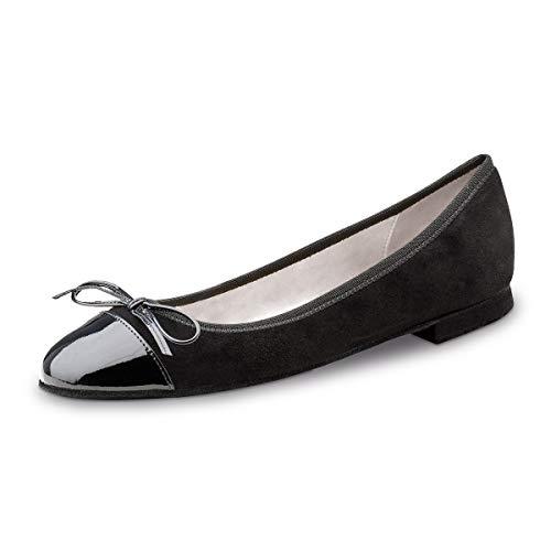 Werner Kern Damskie baleriny/buty do tańca Garda - skóra welurowa/lakierowana czarna - normalna - obcas 1,5 cm - Made in Italy, czarny - czarny - 40 EU