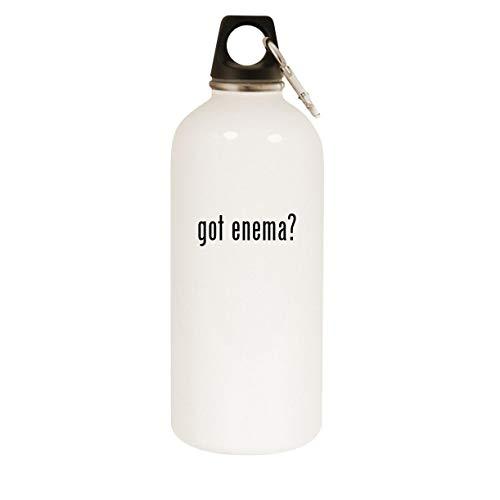 got enema? - 20oz Stainless Steel White Water Bottle with Carabiner, White