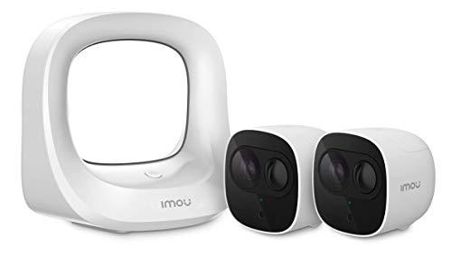 Kit Base Sistema di Videosorveglianza Wi-Fi con 2 IP65 Telecamere di Sicurezza 1080P, Interno Esterno, con Rilevatore di Movimento PIR, Visione Notturna & Audio Bidirezionale