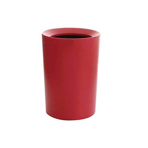 Poubelle- Poubelle compacte à double couche, cuisine de salle de bain de ménage de corbeille à papier (Couleur : Red)