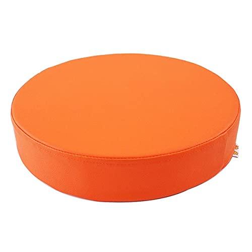 Waigg Kii Cojín impermeable de piel sintética para silla de jardín, cojines de asiento blandos, redondos acolchados de 5/8 cm (naranja, 50 x 50 x 8 cm)