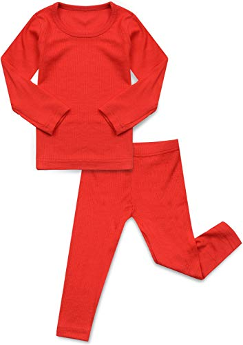 AVAUMA Baby Boy Girl Long Sleeve Ribbed Pajamas Set Snug-Fit Fall Winter Pjs Sleepwear Kids Toddler (JL/Red)