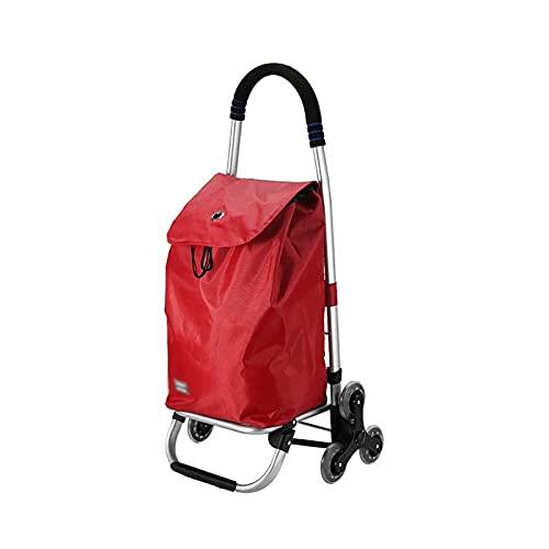 Sdesign Carrito de Compras Mejorado, 2in1 Capacidad de Compras Plegable Capacidad y camión de Mano Super Cargando - Ahorro de Mano de Obra para Escalada con cordón de Bungee Ajustable (Color : Red)