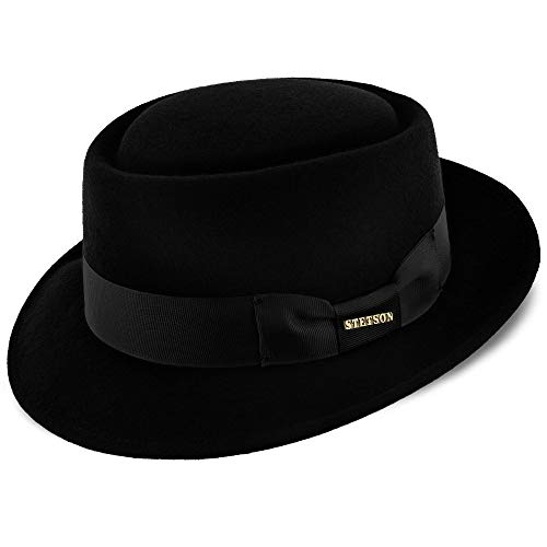 Stetson Cranston Wool Felt Porkpie Hat Black