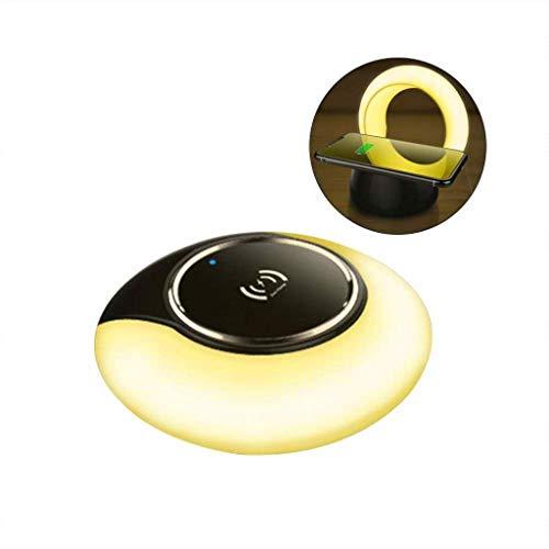 LED-Schreibtischlampe, Pflegende Tischlampe mit schnellem kabellosem Ladegerät und Bluetooth-Lautsprecher, 3 Farbmodi Stufenloses Dimmen mit Touch-Steuerung, für iPhone X/XS/XR/Xmax / 8