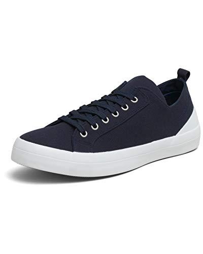 VULCAZ® Classic Low Nachhaltige Sneaker Herren aus Bio-Baumwolle | Vegane & besonders Atmungsaktive Herren-Schuhe mit Innensohle aus Kork-Latex | Navy Blue | Größe 43