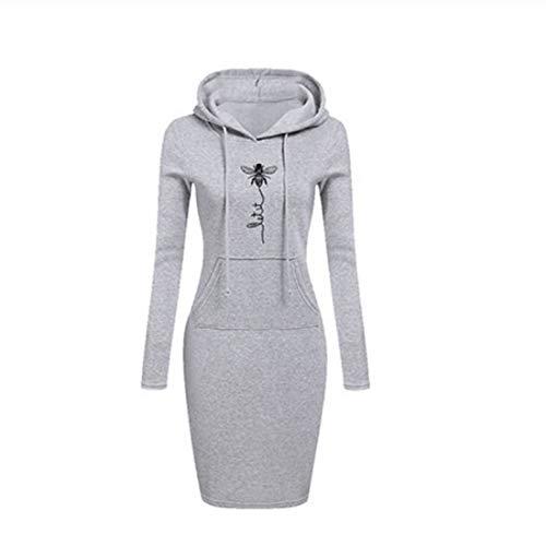 Dihope Femme Sweat Robe Long Sweat à Capuche Manches Longues Robes Pull Hiver Épais Chaud Sweat-shirt avec Poches Hoodie Pullover Imprimé Casual