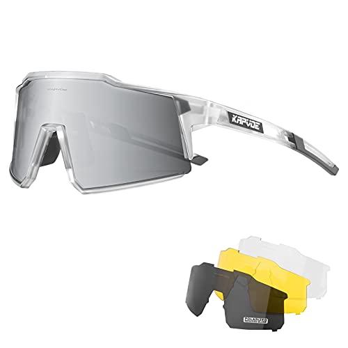 KAPVOE Polarisiert Fahrradbrille mit 4 wechselgläser TR90 Rahmen für Herren Damen Sportsonnenbrille Sport Radfahren MTB Radbrille Sportbrille Fahren Angeln Baseball Laufen CE Zertifiziert 13