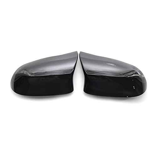 YAOXINGHUA - Fundas de espejo retrovisor para BMW F15 X5 F16 X6 F25 X3 F26 X4 2014-2018 ABS fibra de carbono negro brillante (color: negro)