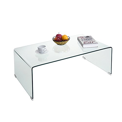 Inwellhome Modern Tempered Glass Coffee Table 10mm Thick Bent Curved Clear Glass Console Table 100x55x35.5cm