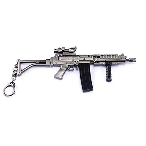 Juguete de pistola de juego de juguete de 17 cm. Juguete de metal SA58, pistola de asalto modelo de arma, llavero para decoración de fiestas, accesorios de personajes, regalos creativos