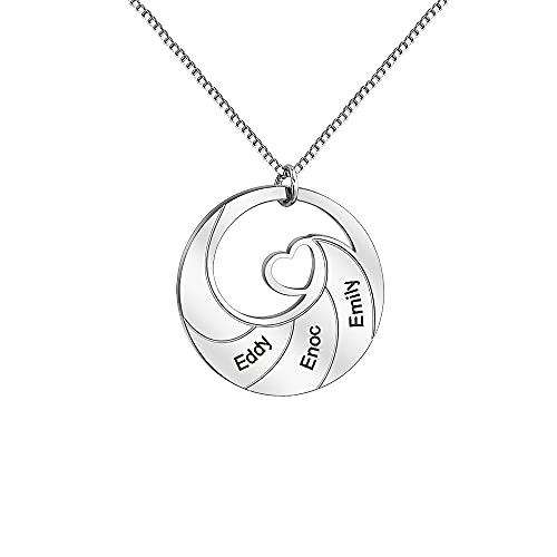 Personalizado 3-5 nombres redondo espiral colgante collar de acero inoxidable corazón Ceter collar con caja de joyería, Acero inoxidable, desconocido,