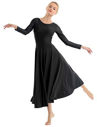 iEFiEL Vestito da Balletto Donna Body da Danza Liturgica Vestito da Ballerina Ragazza Leotard a Manica Lunga Abito da Ballo Allenamento Performace Dancewear S-XXL Nero S