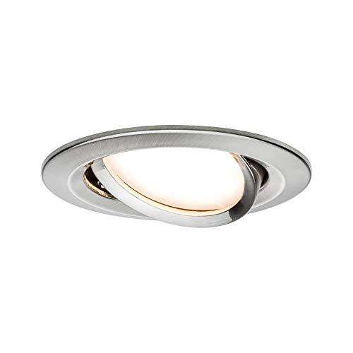 Paulmann 938.77 93877 LED Coin Flache Einbaustrahler Slim Deckenspot rund 6,8W dimmbar und schwenkbar IP23 sprühwassergeschützt Einbauleuchte, 6.8 W, Eisen gebürstet