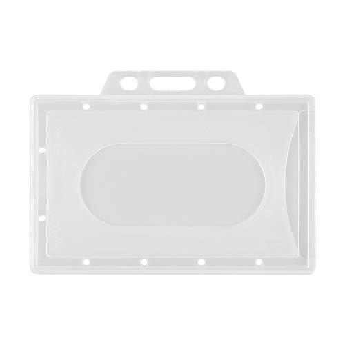 5 fundas protectoras de plástico duro transparente para tarjetas de identificación, oficina, escuela, negocios, tarjetas de identificación, tarjetas de trabajo, tarjetas de nombre (2)