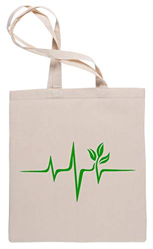 Herzschlag, Impuls Grün, Vegan, Frequenz, Welle, Erde, Planet Einkaufstasche Tote Beige Shopping Bag