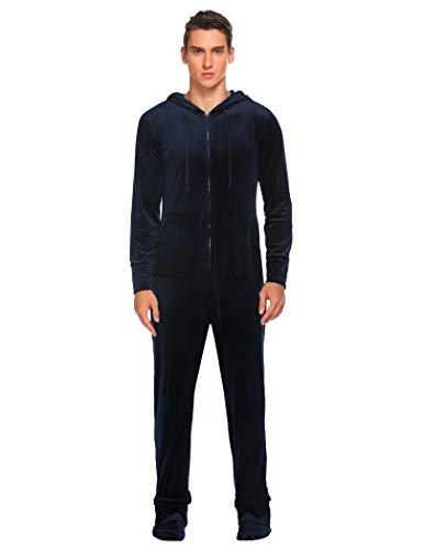 Ekouaer Men's Solid Onesie Jumpsuit One Piece Footed Pajamas Playsuit Navy Blue