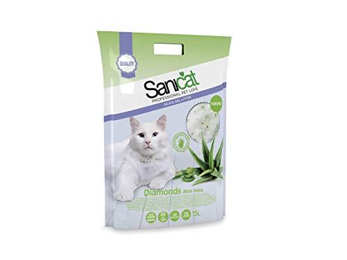 Sanicat Diamonds, Arena Absorbente de Gel de sílice para Gatos, Aroma Aloe Vera - 15 L, Blanca