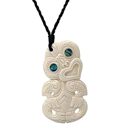 81stgeneration Collar Hueso Tallado a Mano Grabado de Concha de Abulón Hei Tiki para Mujer y Hombre