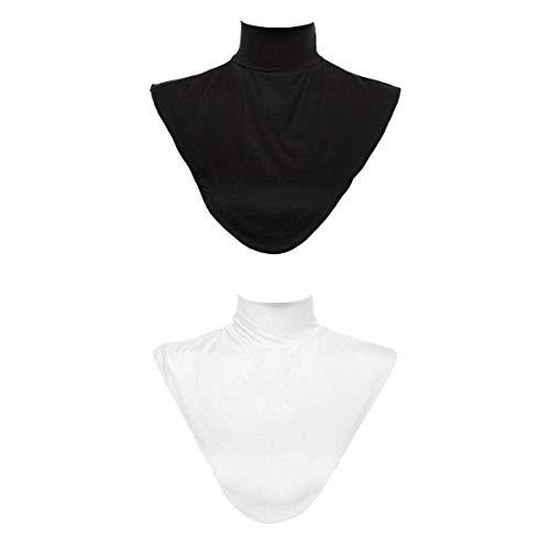 Hellery 2pcs Muslimische Frauen Krageneinsatz Abnehmbare Blusenkragen Einsatz Pullover Kragen Weiß/Schwarz