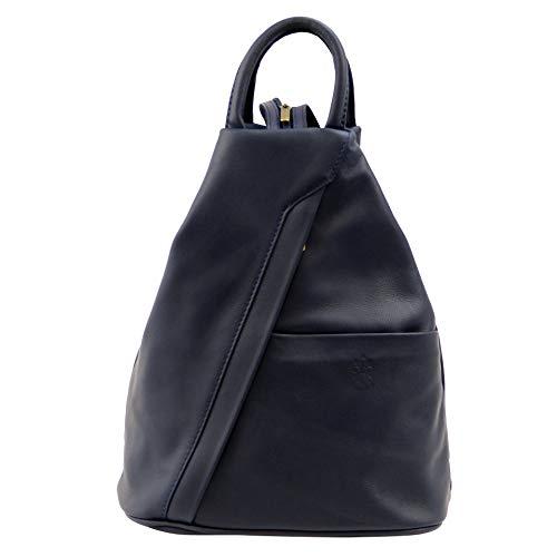 Damenrucksack SH Leder ® Petra Handtasche Schultertasche Daypack CityRucksack aus Nappaleder (B 18cm x H 30cm xT 13cm) (Dunkel Blau)