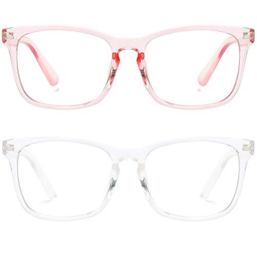 ASHOWIN (2paquetes) Gafas de Filtro de Luz Azul Lentes Antireflejantes Mujer y Hombres Lentes de Computadora para Anti Tensión de Ojos Lentes Transparentes Bloqueo UV (Rosa, a través de blanco) (Rosa, a través de blanco)
