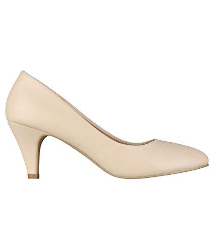 KRISP 5791-BEI-5: Lederimitat Mittelhoher Absatz Schuhe (Beige, Gr.38)