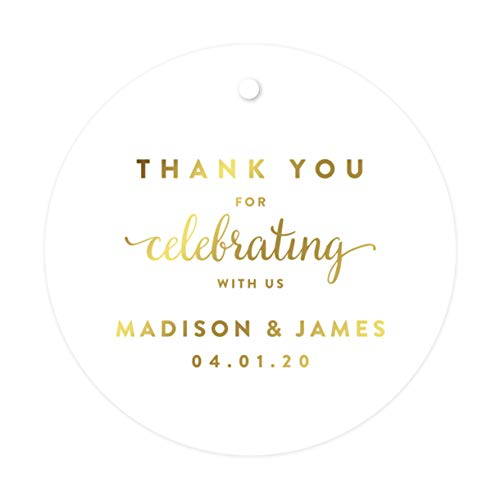 Andaz Press Personalized Round Circle Wedding Gift Tags, Metallic Gold Ink, Thank You for Celebrating with US, 24-Pack, Custom Made Any Name, Baby Bridal Shower, Baptism, Graduation, Business