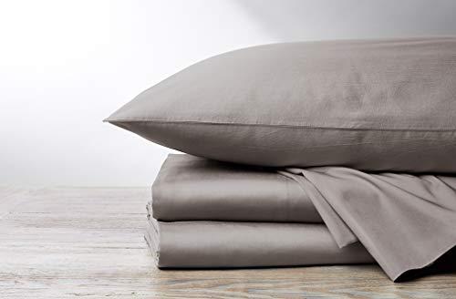 Coyuchi 300 Thread Count 100% Organic Sateen Sheet Set, GOTS Certified, Twin, Pale Gray