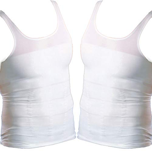 Formfit Bauchweg-Unterhemd für Herren, 2er-Set - Schlankheits - Shirt, Figurformend, Nahtlos, Weiß (M)