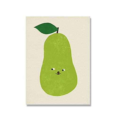Pera Lienzo Arte impresión póster Cuadros de Pared para habitación Infantil Fruta...