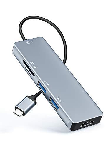 Lemorele 5 en 1 USB C Hub Premium USB C a Adaptador HDMI Estación de Acoplamiento Hub USB-C con 4K 3DHDMI Lector de Tarjetas USB SD/TF Compatible con MacBook Air 2020, DELL XPS 15, Surface Go 2etc.
