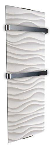 Chemin'Arte 0113 Sèche serviette décoratif ondulation 1200 W Blanc/Gris 120 x 6 x 46 cm
