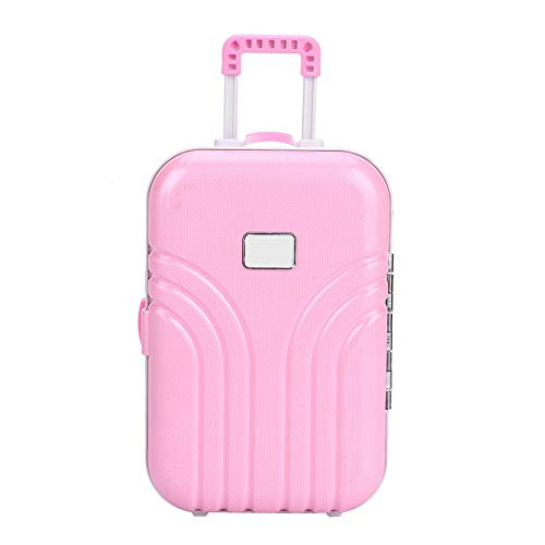 OhhGo Doll Suitcase , Baby Suitcase Toy Mini Luggage Box Cute Plastic Rolling Suitcase (Pink)