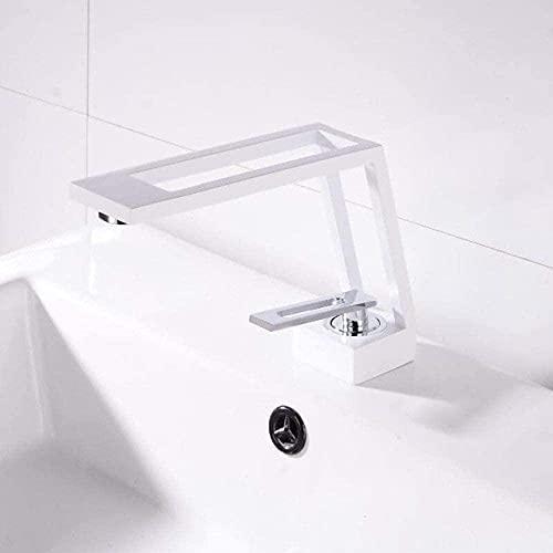 Grifo de baño grifo de baño latón sólido grifo del fregadero de agua fría caliente grifo del fregadero sola manija montado cubierta negro negro blanco