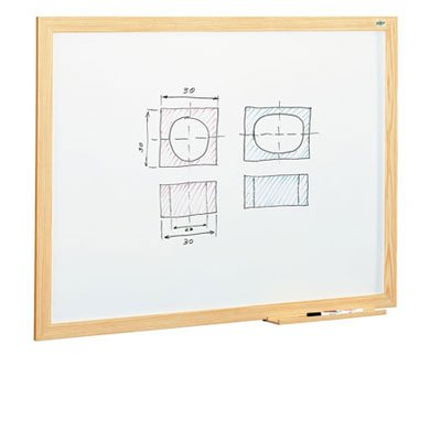 Pizarra blanca estratificada marco madera 100x150 cm