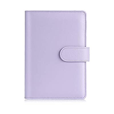 Sooez A6 Notebook Binder, 6 Ring Planner with Stylish Design, Loose Leaf Personal Organizer Binder Cover with Magnetic Buckle Closure, PU Leather Binder for Women with Macaron Colors (Lavender)
