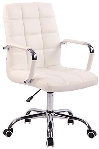 CLP Sedia Design Ufficio Deli I Poltrona Scrivania Imbottita I Sedia Direzionale Girevole E Regolabile, Colore:Bianco