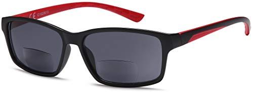 NEWVISION,Occhiali Bifocali Premontati con Lenti Scuro,100% di Protezione dai Raggi UV,Occhiali da Sole Bifocali per Uomo,Stile Sport,Occhiali Outdoor.NV1133(+2.50, rosso)