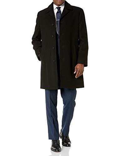 London Fog Men's Signature Wool Blend Top Coat, Black, 46 Long