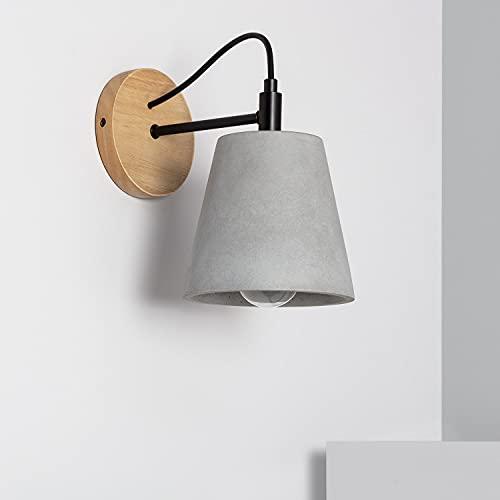 LEDKIA LIGHTING Lampada da Parete Luster 225x225x145 mm Grigio pietra E27 Cemento - Legno per Sale, Soggiorno, Cucina, Camera