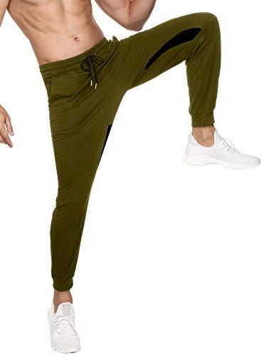 Sykooria Pantaloni Tuta Uomo Pantaloni Leggeri in 95% Cotone con 3 Cerniera Tasche Pantaloni Sportivi Uomo e con Coulisse Pantaloni Casual per Fitness Jogging -Army Greens