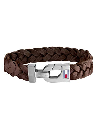 Tommy Hilfiger Armband Braun Herren, Leder Edelstahl, Überlänge 21cm