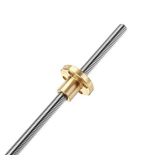 Machifit 150mm T6 Gewindespindel 6mm Gewinde 1mm Steigungsschraube mit Flansch Kupfermutter