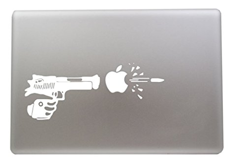 #2 Gun Shooting Apple Bullet Wound Vinyl Car Sticker Symbol Silhouette Keypad Track Pad Decal Laptop Skin Ipad Macbook Window Truck Motorcycle