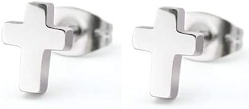 Stailnless Steel Tiny Size Christian Cross Stud Earrings Silver product image