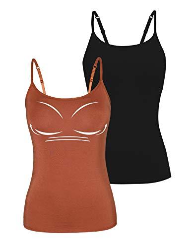 STARBILD 2 Piezas Camiseta Interior para Mujer Camiseta Tirantes Ancho Mujer Microfibra antibacteriana Transpirante Sin Costuras