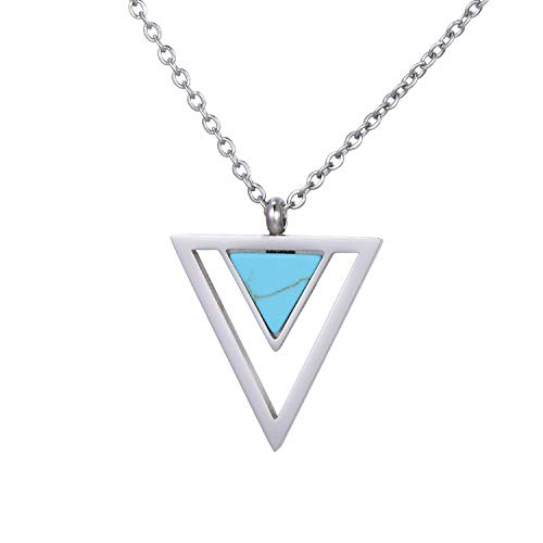 Morella Women's Necklace with Pendant Double Triangle Turquoise Silver Stainless Steel in Velvet Bag