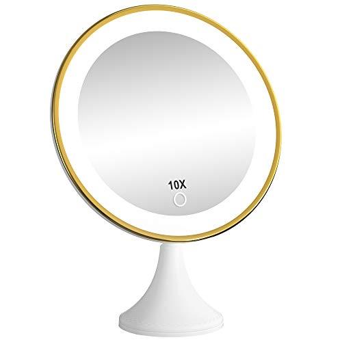 BEQOOL kosmetikspiegel mit Beleuchtung mit 10-facher Vergrößerung, und 360° Schwenkbar Starkem Saugnapf, Schminkspiegel mit Dimmbarer Helligkeit USB or Batteriebetrieben Für Schminken & Rasieren